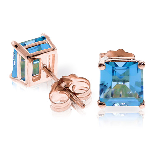 Blue Topaz Stud Earrings 1.75ctw in 9ct Rose Gold