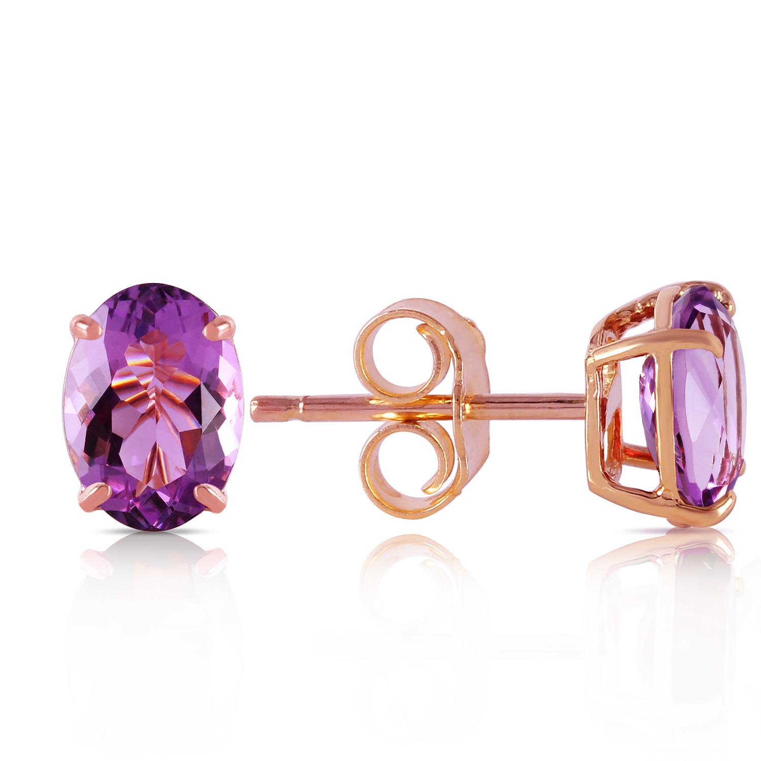 Amethyst Stud Earrings 1.8ctw in 9ct Rose Gold