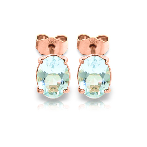 Aquamarine Stud Earrings 1.8ctw in 9ct Rose Gold