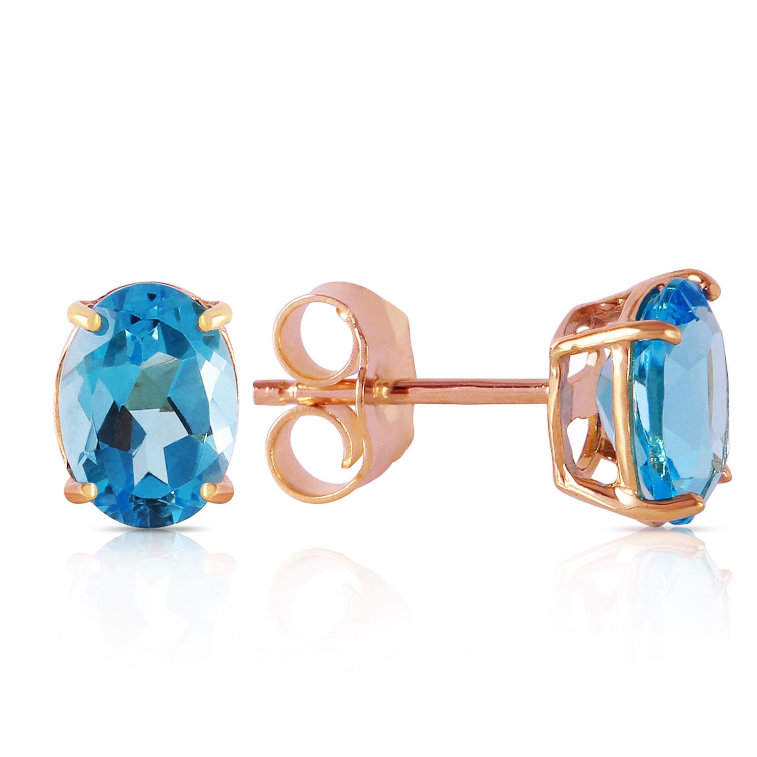Blue Topaz Stud Earrings 1.8ctw in 9ct Rose Gold
