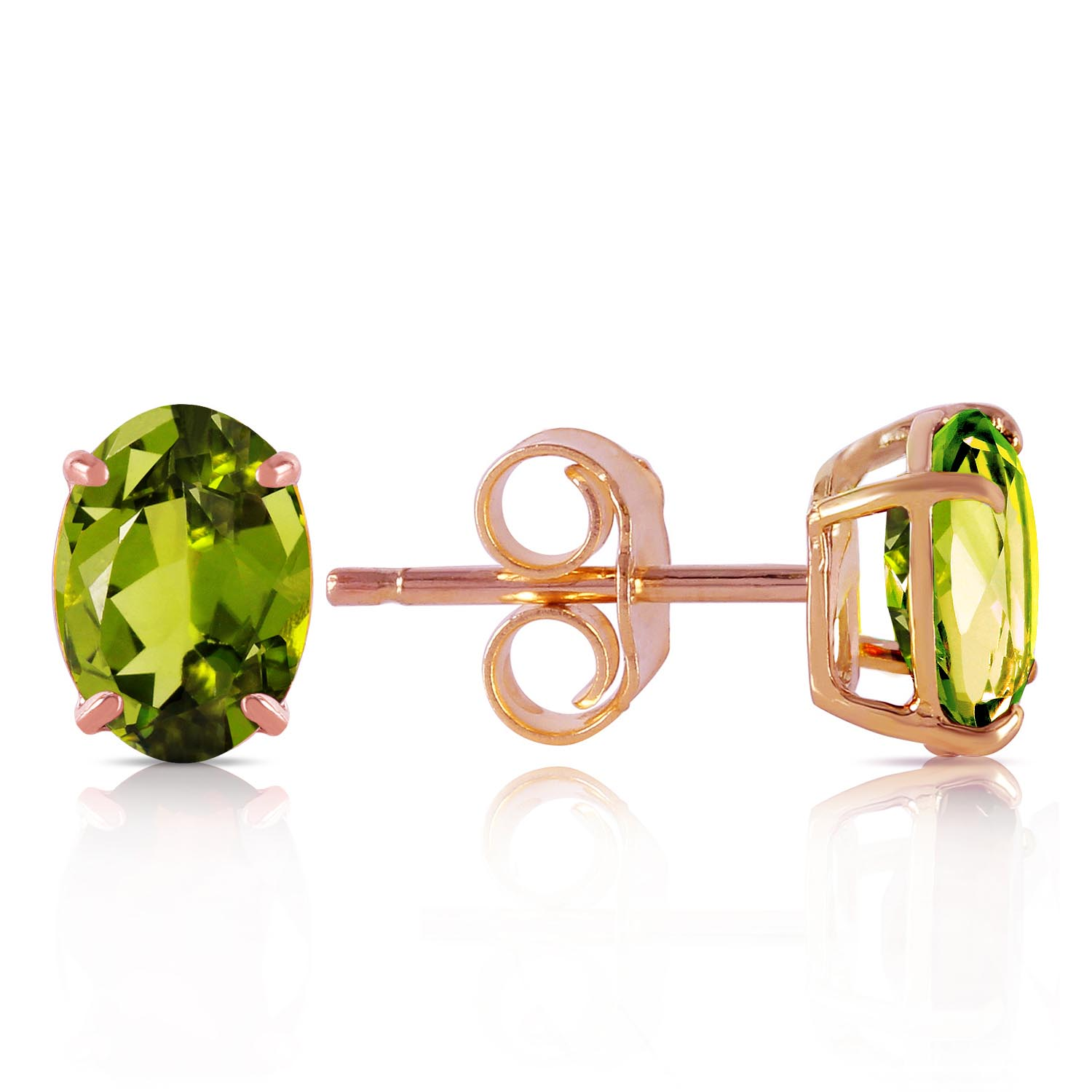 Peridot Stud Earrings 1.8ctw in 9ct Rose Gold
