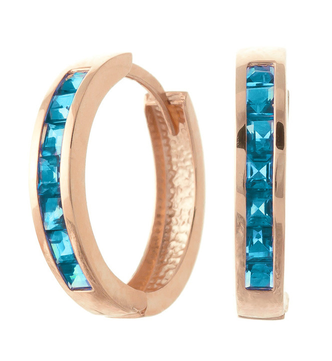 Blue Topaz Huggie Earrings 1.85ct in 9ct Rose Gold