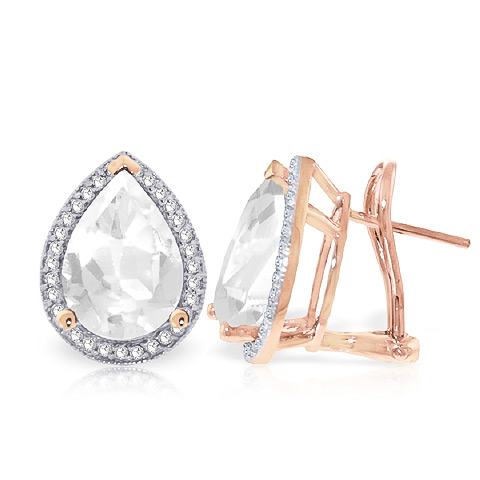 White Topaz and Diamond French Clip Earrings 10.9ctw in 9ct Rose Gold