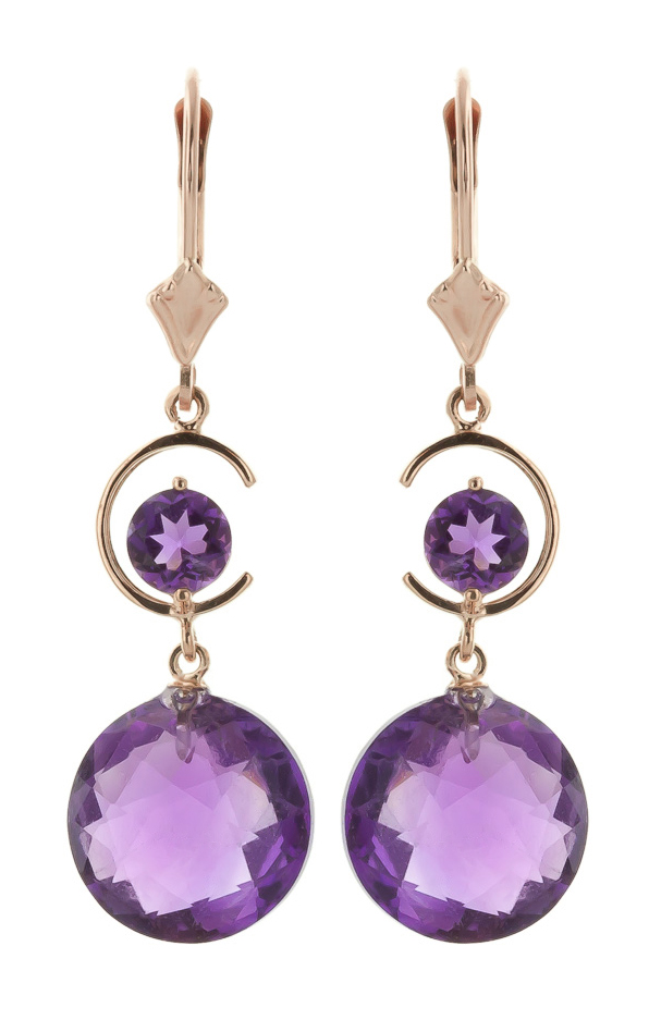 Amethyst Drop Earrings 11.6ctw in 9ct Rose Gold