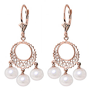 Pearl Drop Earrings 12.0ctw in 9ct Rose Gold
