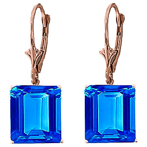 Blue Topaz Drop Earrings 13.0ctw in 9ct Rose Gold
