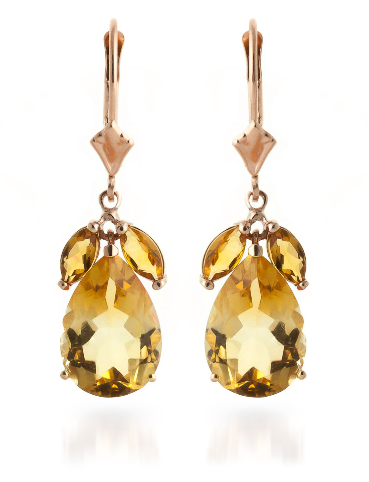 Citrine Drop Earrings 13.0ctw in 9ct Rose Gold