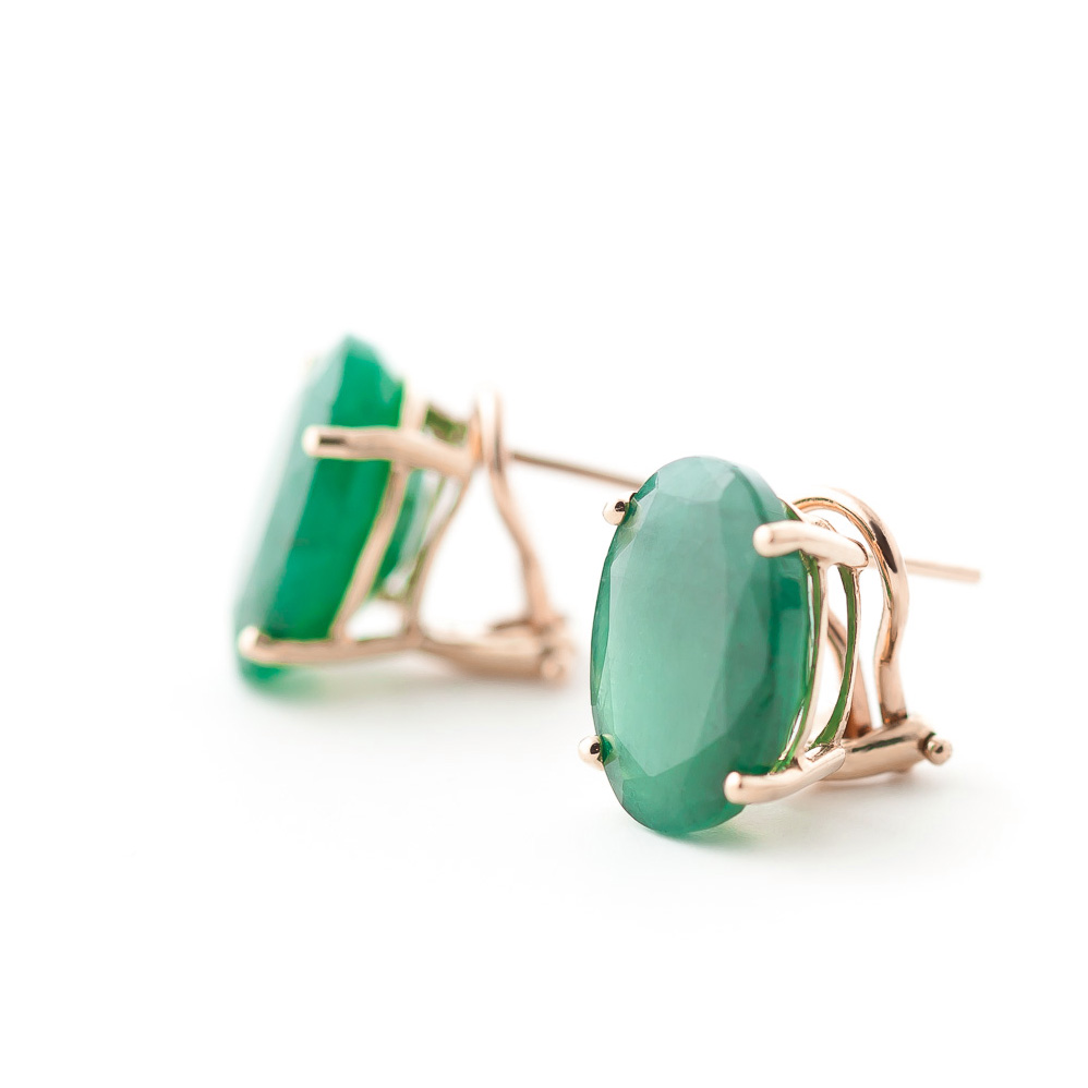 Emerald Stud Earrings 13.0ctw in 9ct Rose Gold