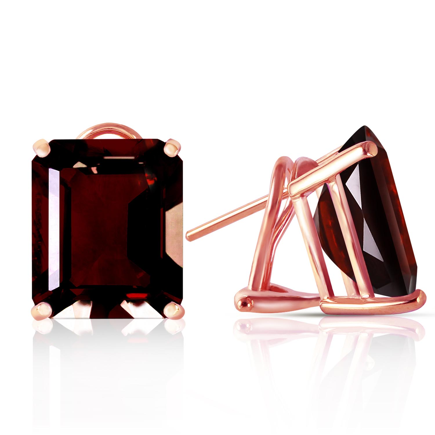 Garnet Stud Earrings 14.0ctw in 9ct Rose Gold