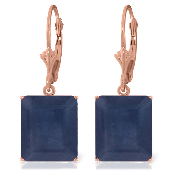 Sapphire Drop Earrings 14.0ctw in 9ct Rose Gold