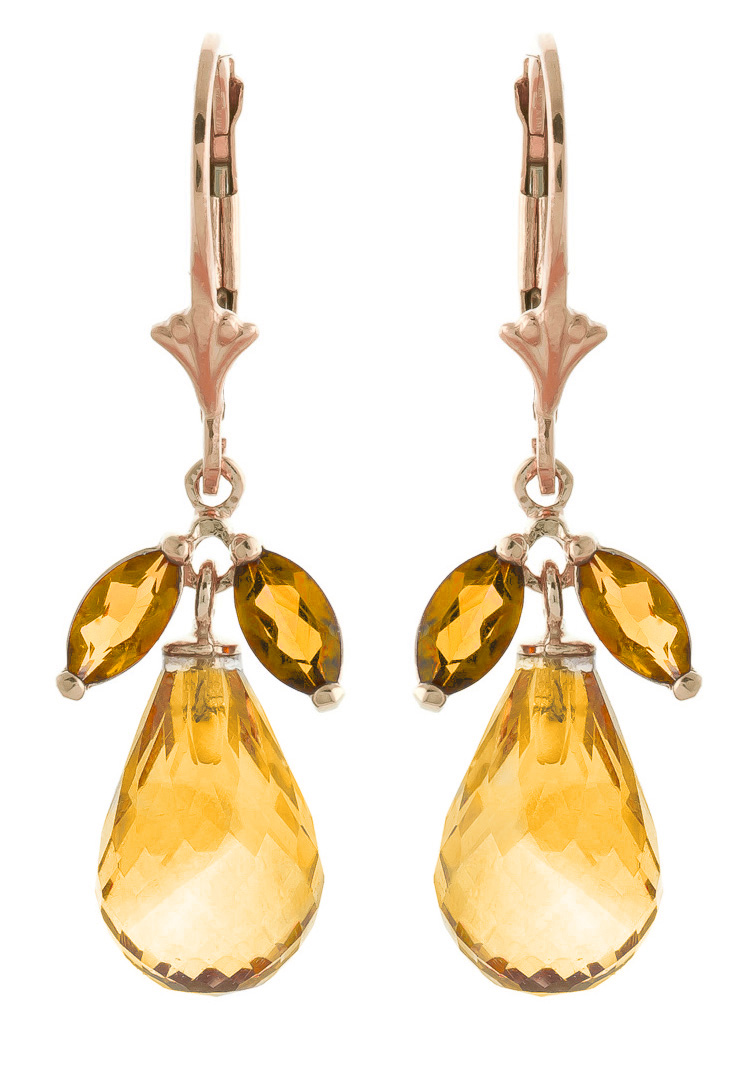 Citrine Drop Earrings 14.4ctw in 9ct Rose Gold