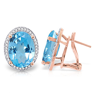 Blue Topaz and Diamond French Clip Halo Earrings 14.8ctw in 9ct Rose Gold