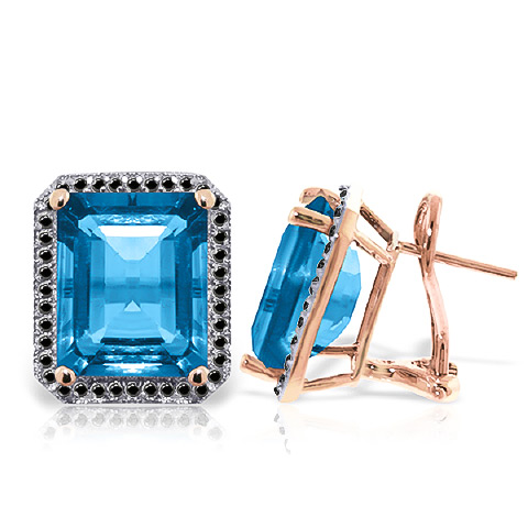 Blue Topaz and Diamond Stud French Clip Halo Earrings 15.2ctw in 9ct Rose Gold