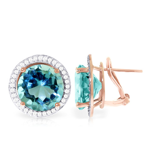 Blue Topaz and Diamond French Clip Halo Earrings 15.6ct in 9ct Rose Gold