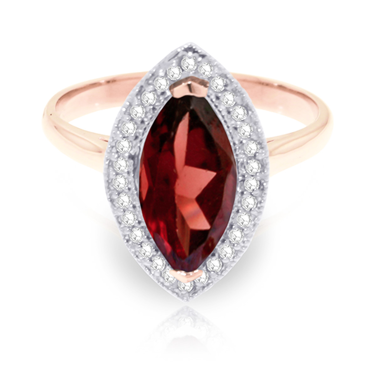 Garnet and Diamond Halo Ring 2.0ct in 9ct Rose Gold