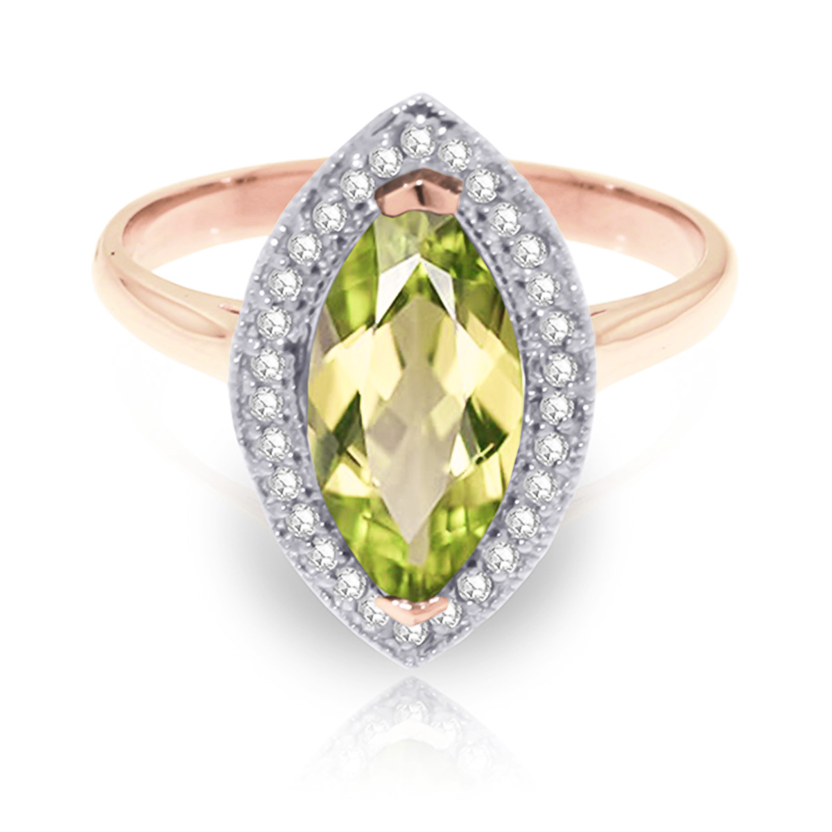 Peridot and Diamond Halo Ring 2.0ct in 9ct Rose Gold