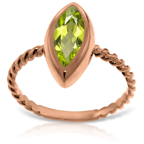 Marquise Cut Peridot Ring 2.0ct in 9ct Rose Gold
