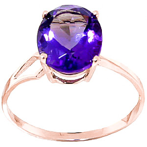Amethyst Claw Set Ring 2.2ct in 9ct Rose Gold