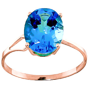 Blue Topaz Claw Set Ring 2.2ct in 9ct Rose Gold