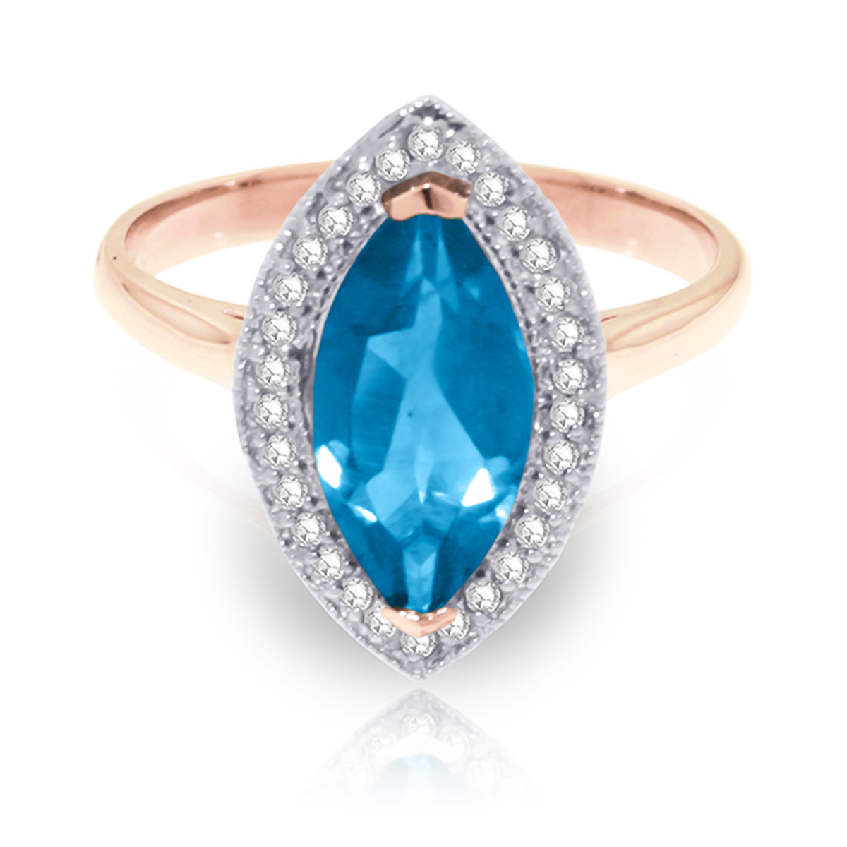 Blue Topaz and Diamond Halo Ring 2.25ct in 9ct Rose Gold