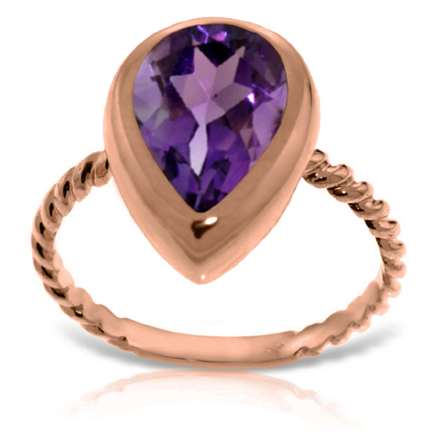 Pear Cut Amethyst Ring 2.5ct in 9ct Rose Gold
