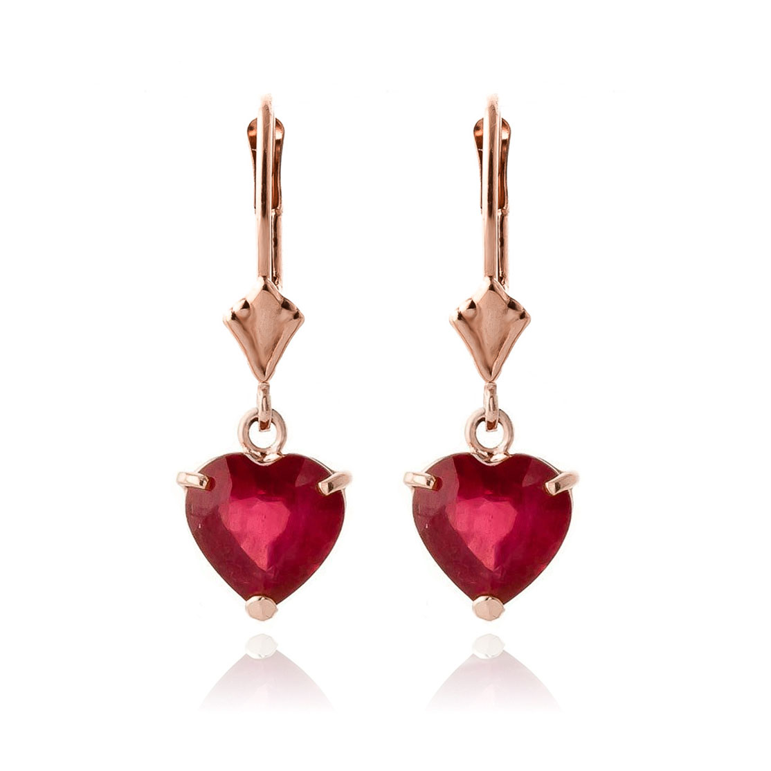 Ruby Heart Drop Earrings 2.9ctw in 9ct Rose Gold