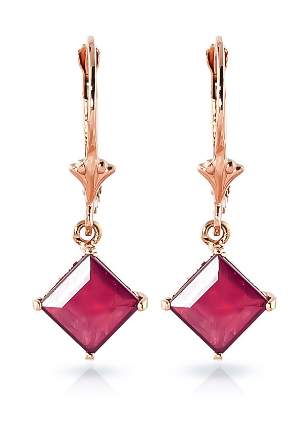 Ruby Drop Earrings 2.9ctw in 9ct Rose Gold