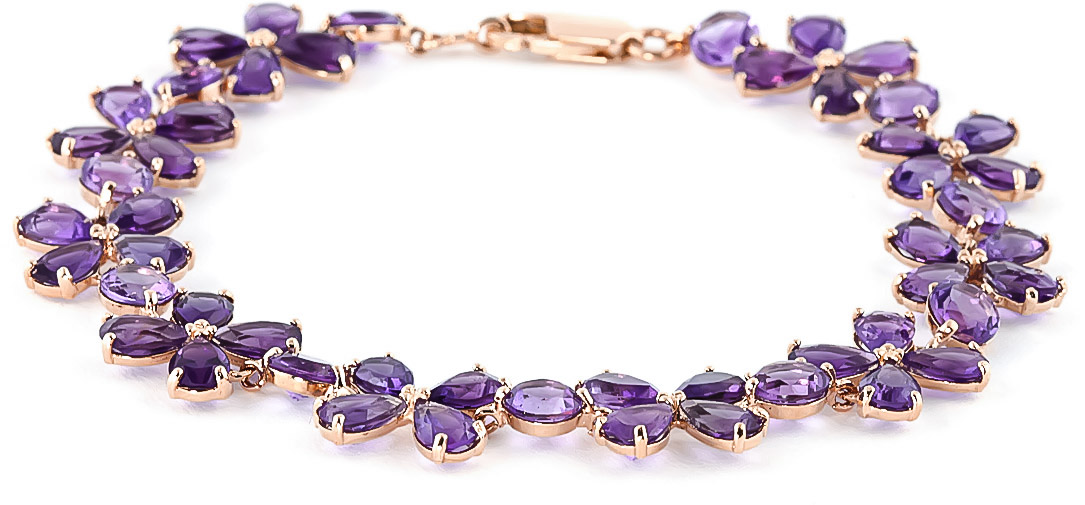 Amethyst Blossom Bracelet 20.7ctw in 9ct Rose Gold
