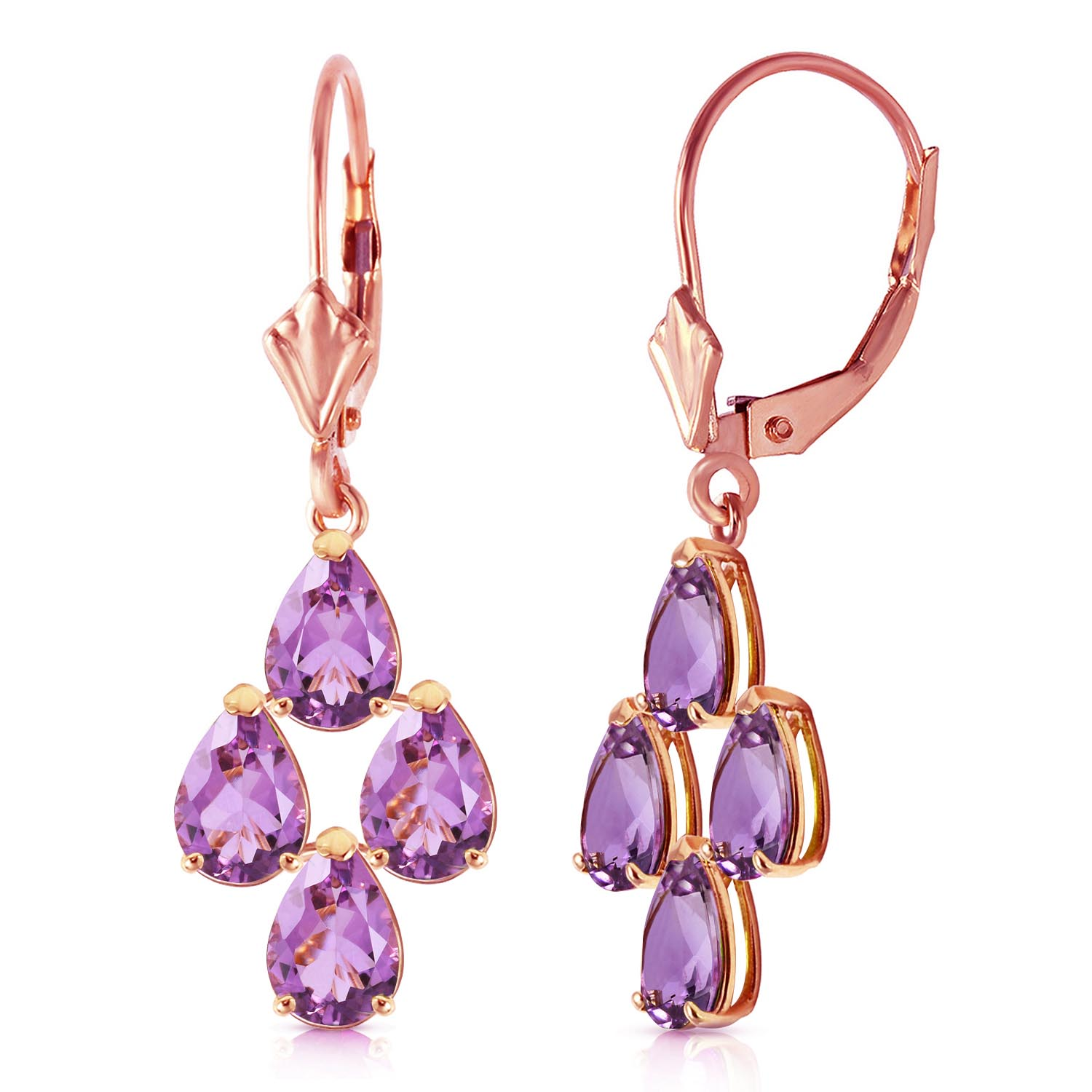 Amethyst Drop Earrings 3.0ctw in 9ct Rose Gold