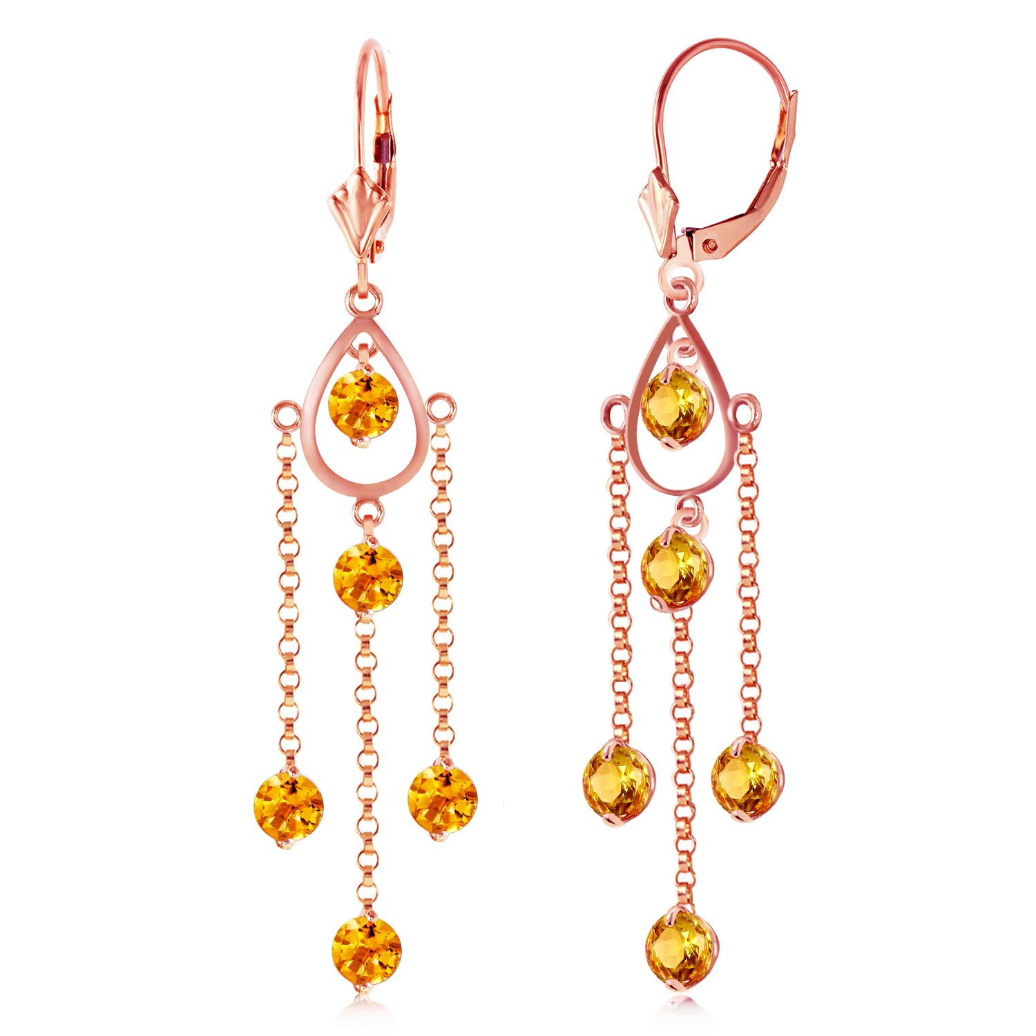 Citrine Faro Drop Earrings 3.0ctw in 9ct Rose Gold