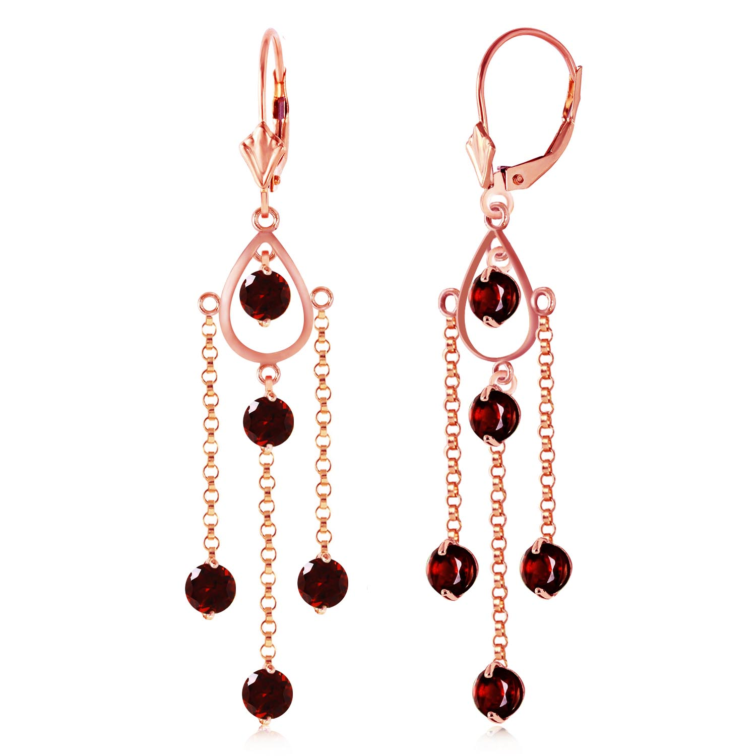 Garnet Faro Drop Earrings 3.0ctw in 9ct Rose Gold