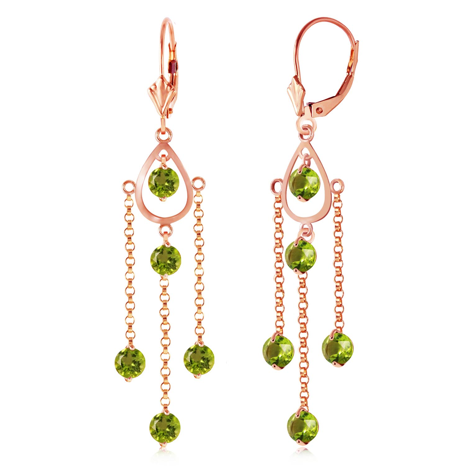 Peridot Faro Drop Earrings 3.0ctw in 9ct Rose Gold