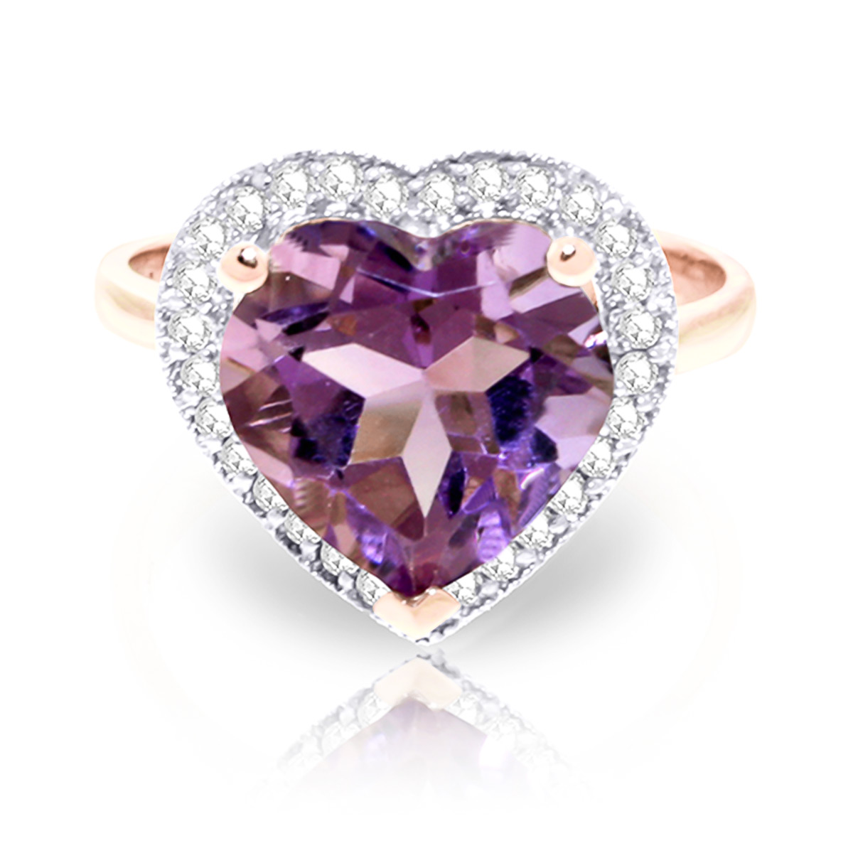 Amethyst and Diamond Halo Ring 3.1ct in 9ct Rose Gold