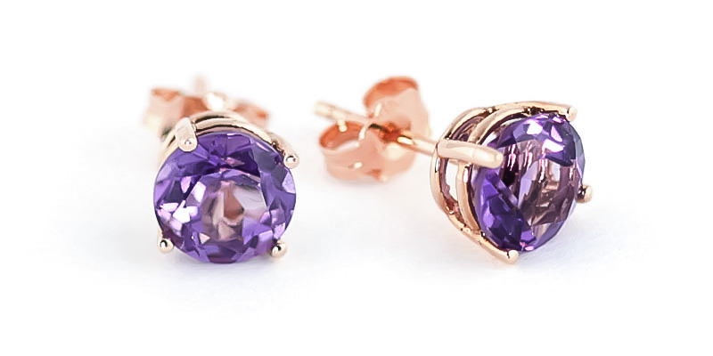 Amethyst Stud Earrings 3.1ctw in 9ct Rose Gold