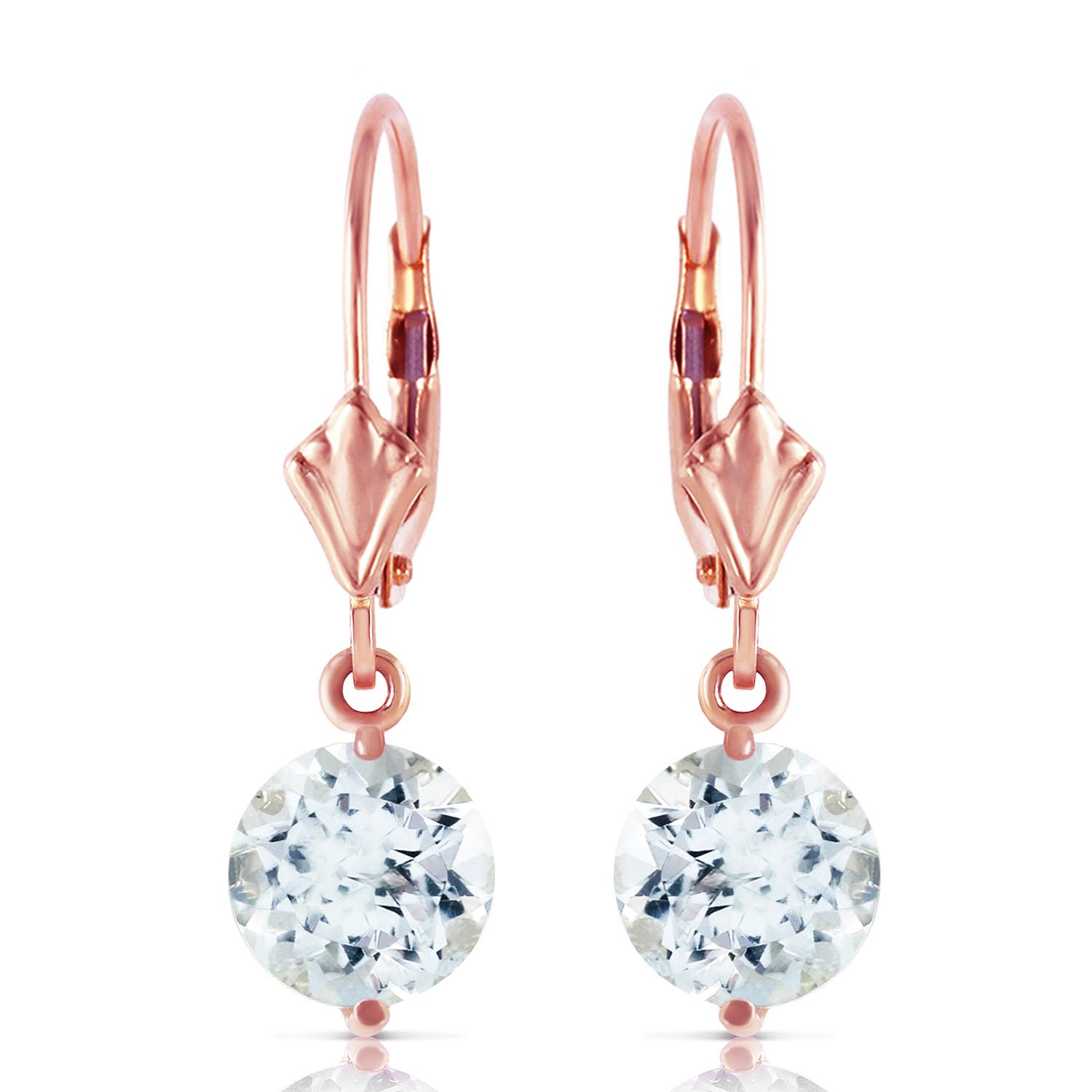 Aquamarine Drop Earrings 3.1ctw in 9ct Rose Gold