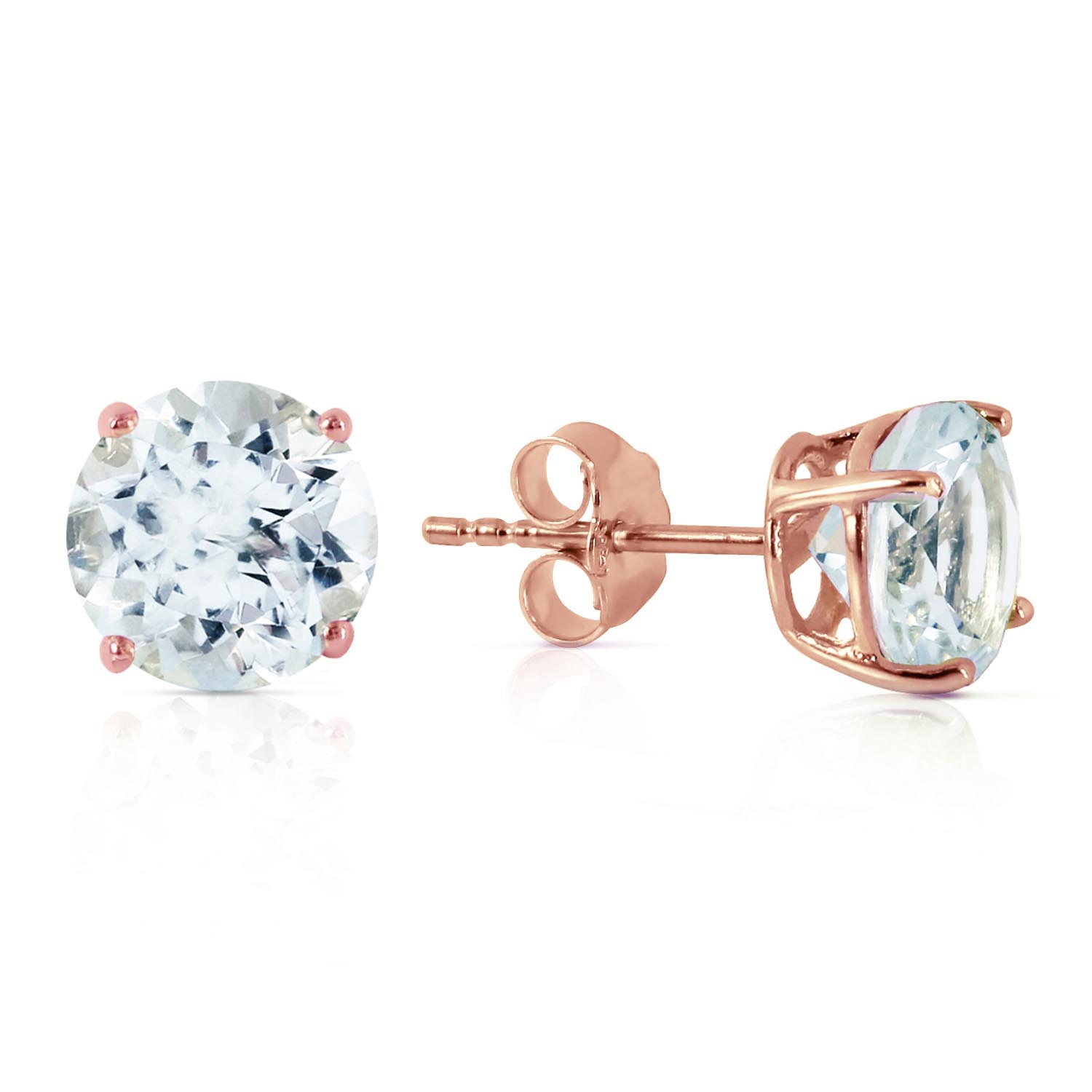 Aquamarine Stud Earrings 3.1ctw in 9ct Rose Gold