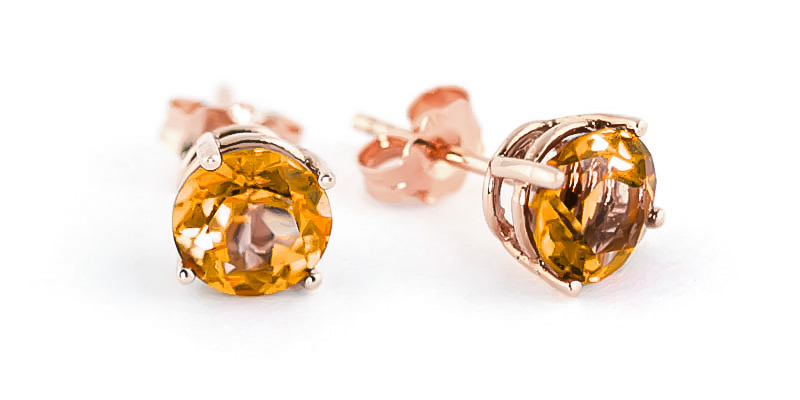 Citrine Stud Earrings 3.1ctw in 9ct Rose Gold
