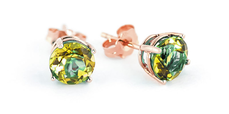 Peridot Stud Earrings 3.1ctw in 9ct Rose Gold