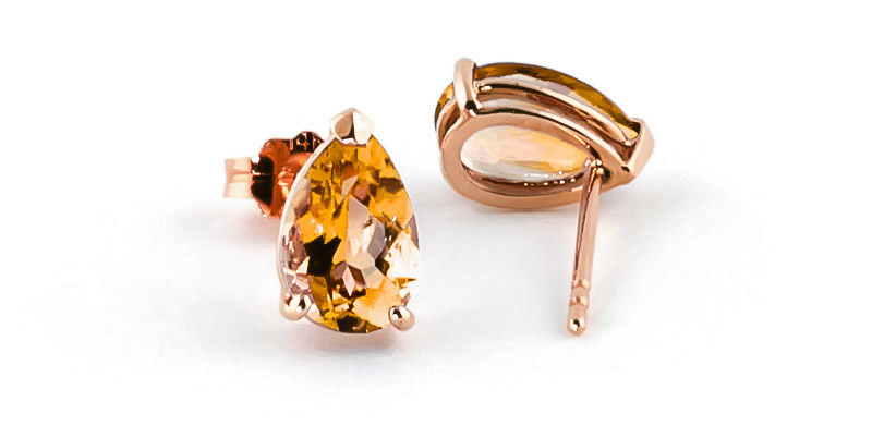 Citrine Stud Earrings 3.15ctw in 9ct Rose Gold
