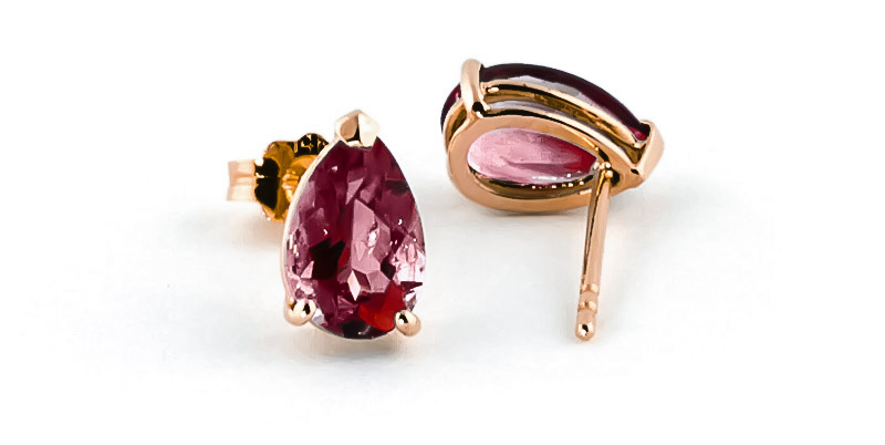 Garnet Stud Earrings 3.15ctw in 9ct Rose Gold