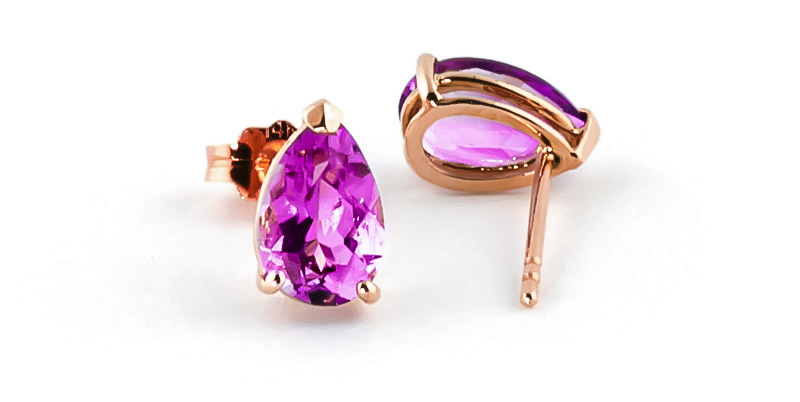 Pink Topaz Stud Earrings 3.15ctw in 9ct Rose Gold