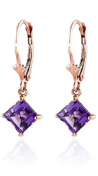 Amethyst Drop Earrings 3.2ctw in 9ct Rose Gold