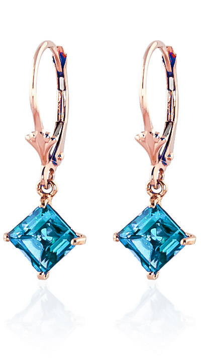 Blue Topaz Drop Earrings 3.2ctw in 9ct Rose Gold