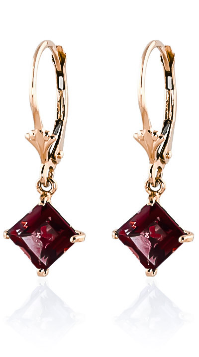Garnet Drop Earrings 3.2ctw in 9ct Rose Gold
