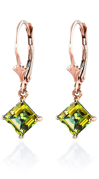 Peridot Drop Earrings 3.2ctw in 9ct Rose Gold