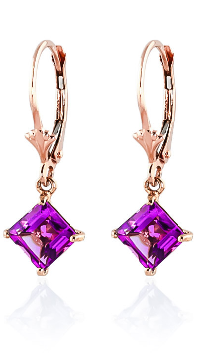 Pink Topaz Drop Earrings 3.2ctw in 9ct Rose Gold