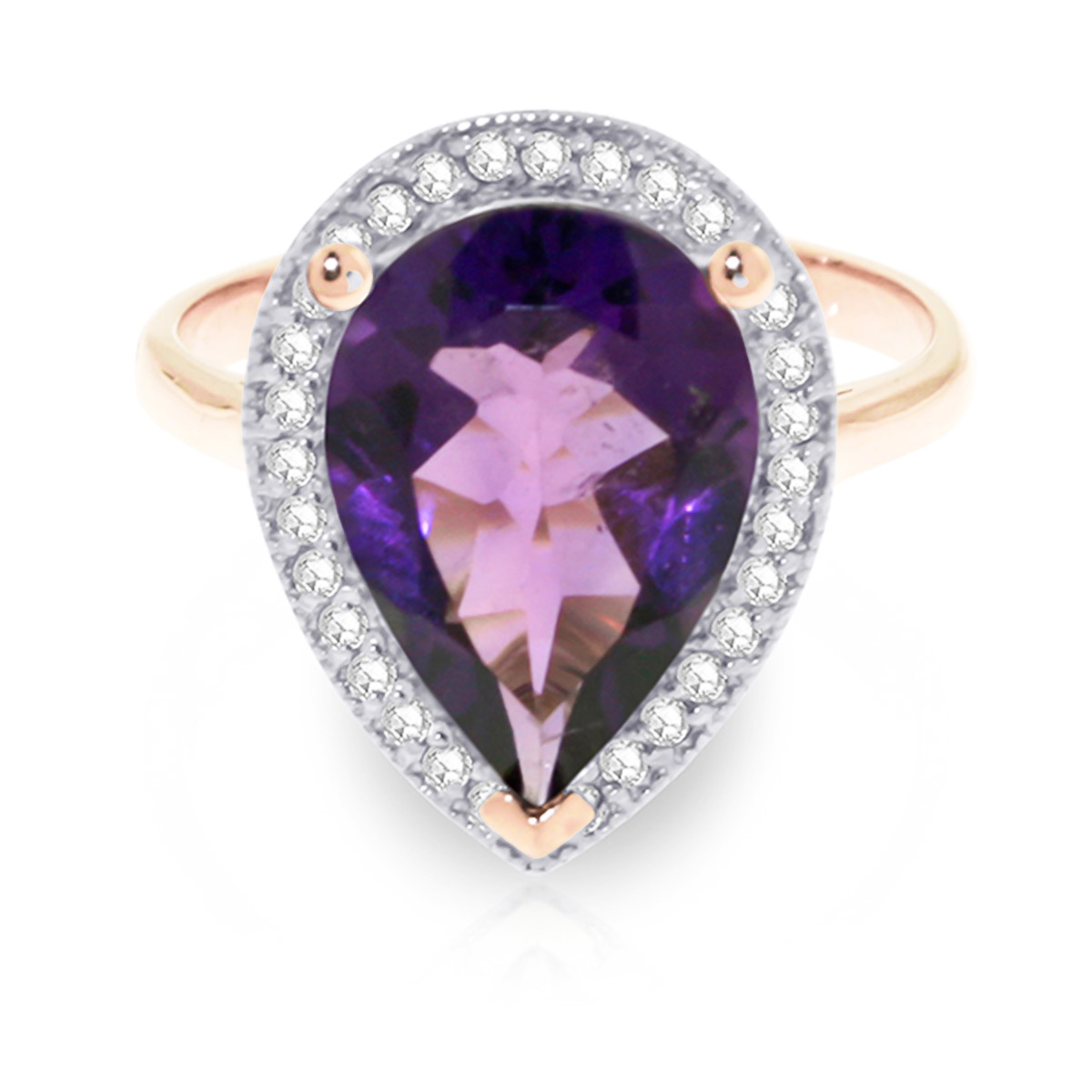 Amethyst and Diamond Halo Ring 3.25ct in 9ct Rose Gold