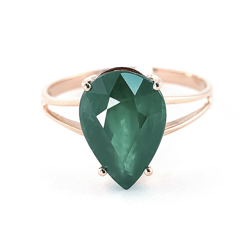 Pear Cut Emerald Ring 3.5ct in 9ct Rose Gold