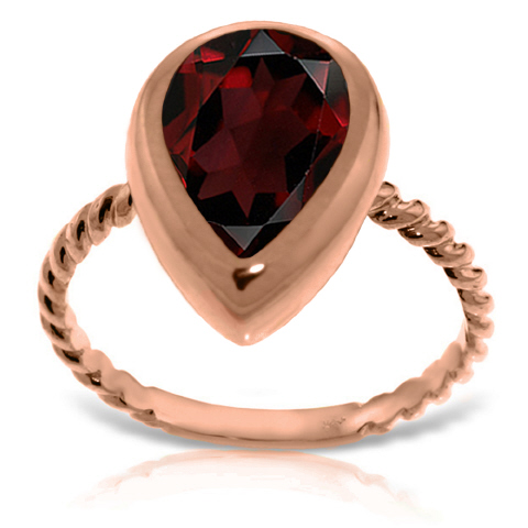 Pear Cut Garnet Ring 3.5ct in 9ct Rose Gold