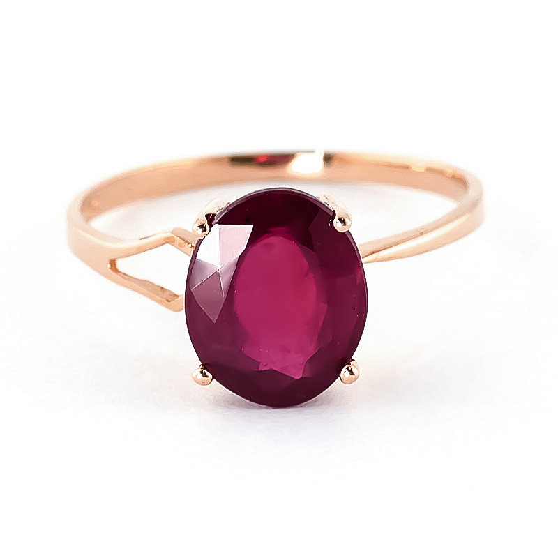 Ruby Claw Set Ring 3.5ct in 9ct Rose Gold